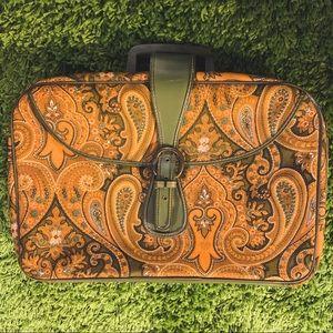 Vtg 60's Orange Paisley Suitcase